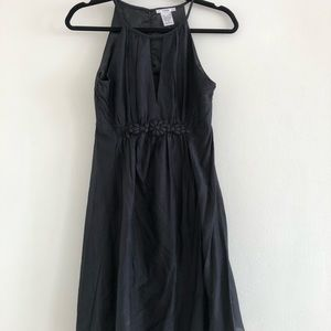 Black Silk/Cotton Dress w/ Cinch and Button Detail